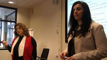 Bughdana Hajjar (Lebanon) and Dina Youssef (Egypt) give presentations during the workshop