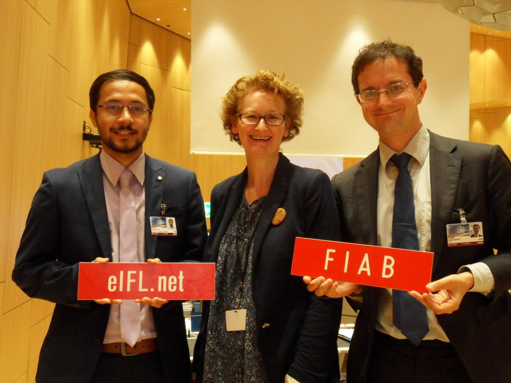 The library delegation at the 56th WIPO General Assembly: Pratyush Nath Upreti and Teresa Hackett (EIFL), Stephen Wyber (IFLA)