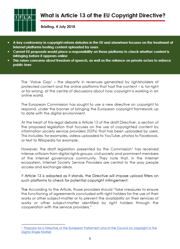 First page of IFLA Briefing on Article 13