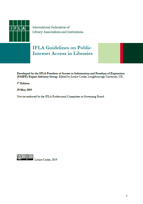 Front cover of IFLA Guidelines on Public Internet Access in Libraries