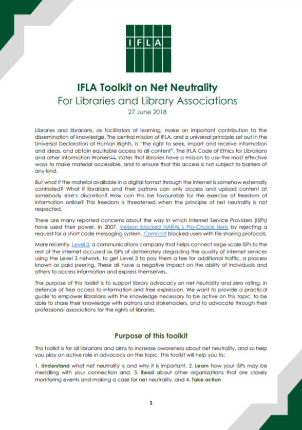 Front Cover of IFLA Toolkit on Net Neutrality