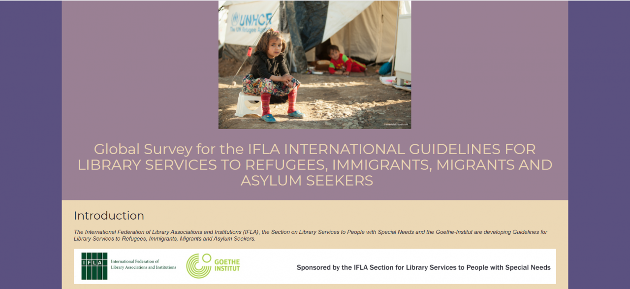 Screenshot of the online global survey for the IFLA International Guidelines for Library Services to Refugees, Immigrants, Migrants and Asylum Seekers