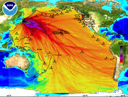 NOAA Energy map shows the intensity of the tsunami in the Pacific Ocean caused by the magnitude 8.9 earthquake