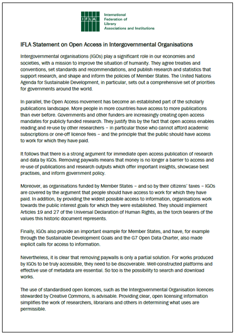 First page of IFLA Statement on Open Access in Intergovernmental Organisations