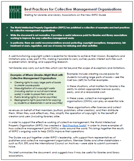 First page of IFLA Brief on WIPO CMO Best Practice Toolkit