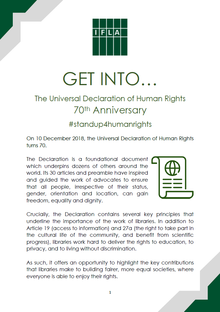 Cover of IFLA Get into the 70th Anniversary of the Universal Declaration of Human Rights