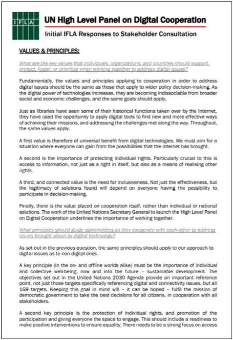First page of IFLA Initial Response to UN High-Level Panel on Digital Cooperation