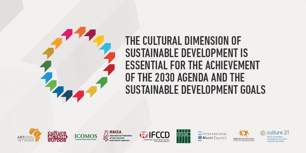 Image - arrows in the colours of the SDGs. Text: the cultural dimension of sustainable development is essential for the achievement of the 2030 Agenda and the Sustainable Development Goals
