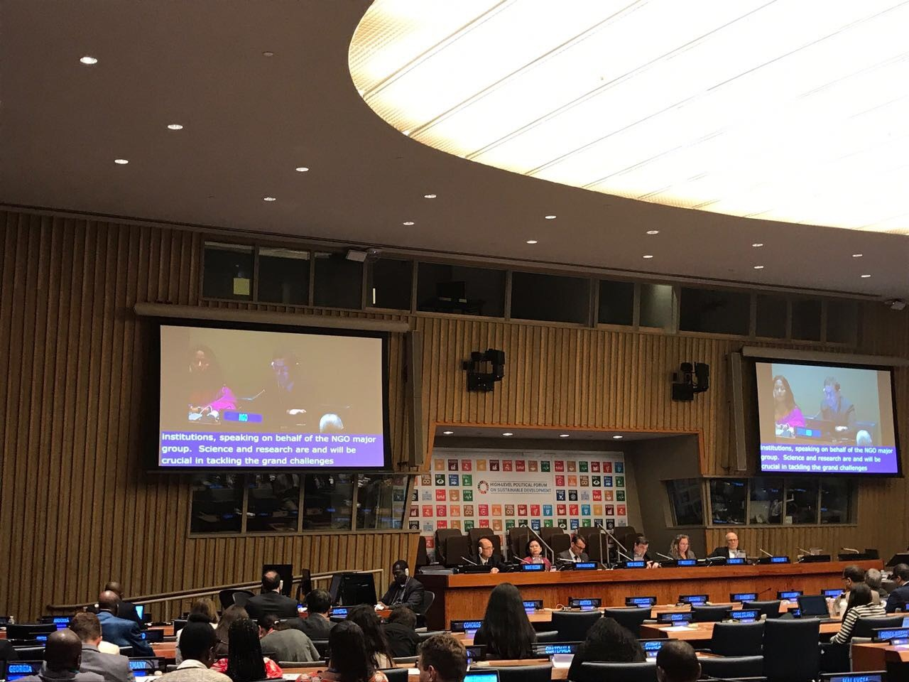 "IFLA's intervention at the HLPF session ""Science-policy interface and emerging issues"" on behalf of the NGO Major Group"