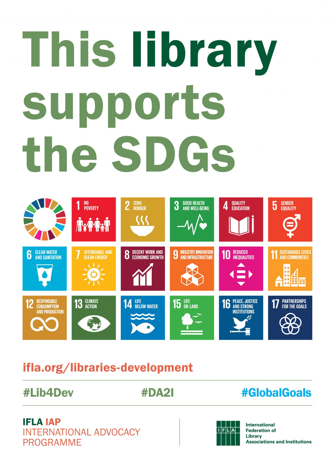 IFLA Poster: This library supports the SDGs. Image: SDG icons