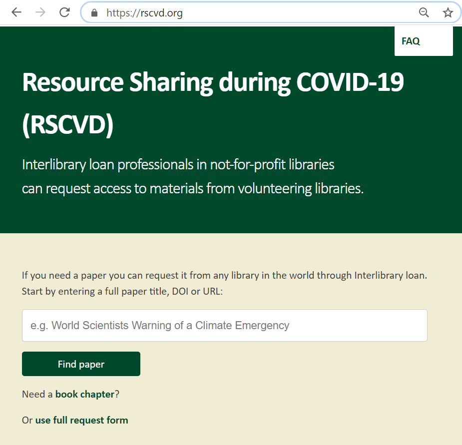 Screenshot from the online Resource Sharing tool that offers the service of interlibrary lending for libraries across the globe.