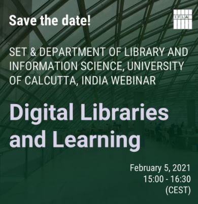 Save the date SET Webinar Feb 5 Digital Libraries and Learning