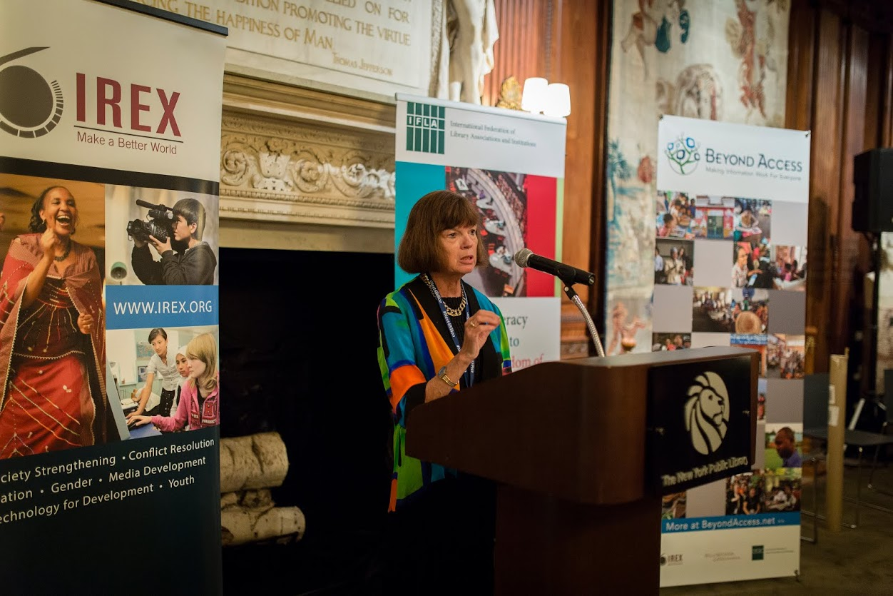 IFLA President Donna Scheeder speaking at #next4billion event
